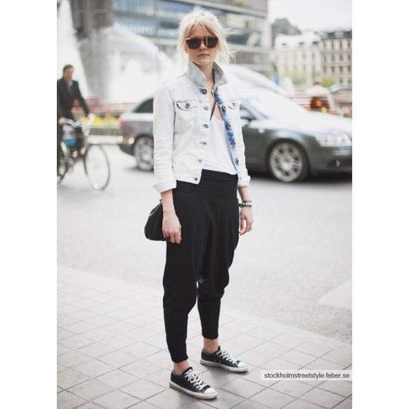 American Apparel Pants | Aa Cotton Spandex Jersey Harem Pant Black .