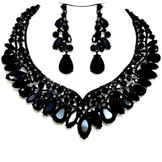 Jet Black Crystal Necklace Set Elegant Formal Wedding Jewelry .