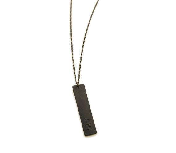 BLACK BAR NECKLACE, Personalized Mens Necklace, Unisex Minimalist .