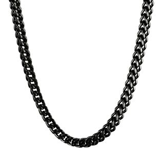 Shop Men's Black-plated Stainless Steel Wheat Chain Necklace (6mm .