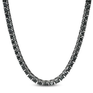 29-1/5 CT.T.W. Enhanced Black Diamond Tennis Necklace in Sterling .