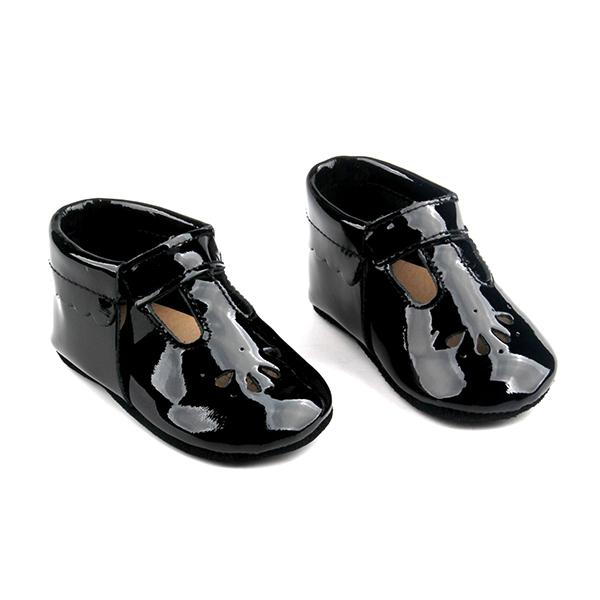 Baby Mary Jane T-Strap Teardrop Shoes - Black Patent Leather .