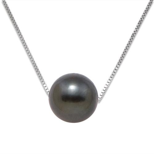 Tahitian Black Pearl Necklace in 14K White Gold (9-10m