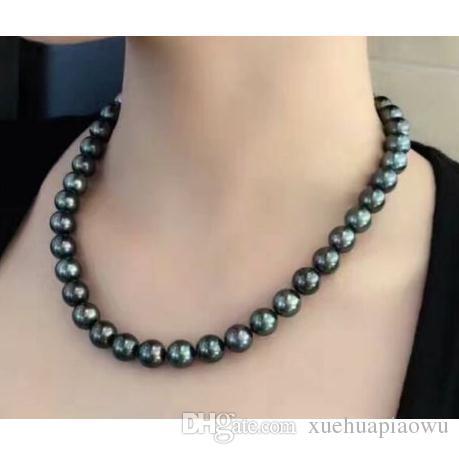 2020 Elegant 9 10mm Natural Tahitian Black Pearl Necklace 18 .