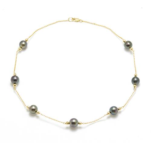 Tahitian Black Pearl Necklace in 14K Yellow Gold (9-10m