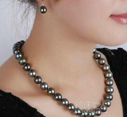 AAAA 9-10 Mm Natural Tahitian Black Pearl Necklace 18'' 14k Clasp .