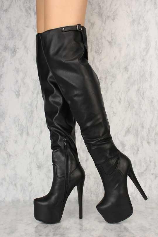 Black Thigh High Platform Boots Faux Leath