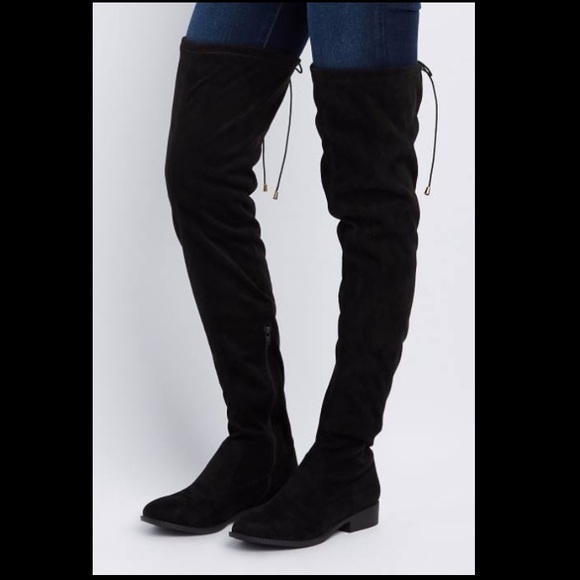ASOS Shoes | Thigh High Boots Flat Black Suede | Poshma