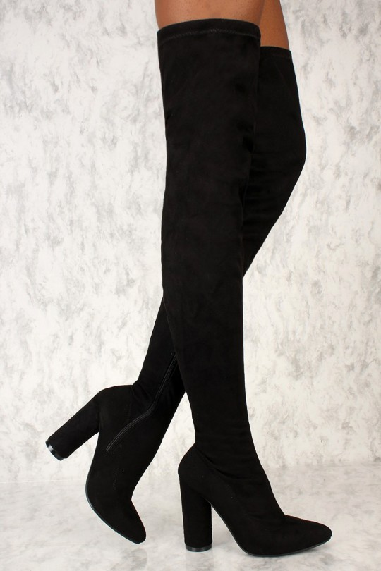 Sexy Black Thigh High Circle Chunky Heel Boots Crushed Faux Sue