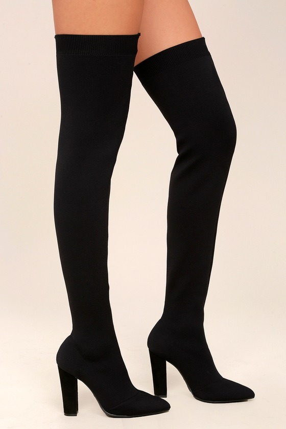 Sexy Black Over the Knee Boots - Knit Thigh High Boo