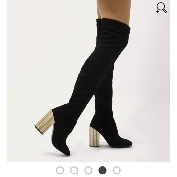 Public Desire Shoes | Black Thigh High Over Knee Boots With Gold .