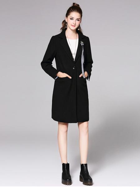 Long Sleeves Single Button Long Black Wool Coat Womens Sa