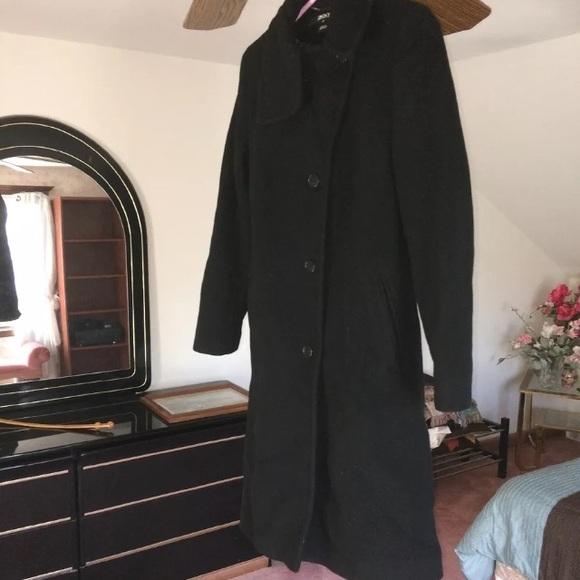 Dkny Jackets & Coats | Women Black Wool Coat With Leather Trim 4 .