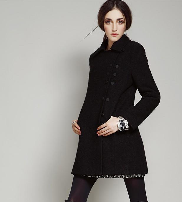 Women Warm Wool Coat Jacket Black Double-breasted on Luul