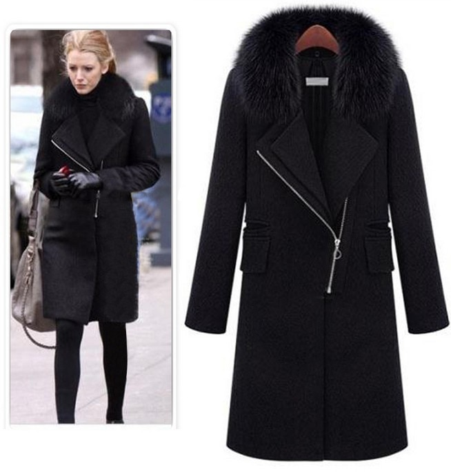 New Autumn and Winter Jackets Women Black Wool Coat Large Fur .