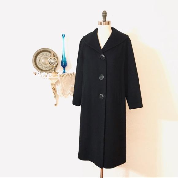 Jackets & Coats | Womens 1950s Black Wool Coat Big Collar 1024 .