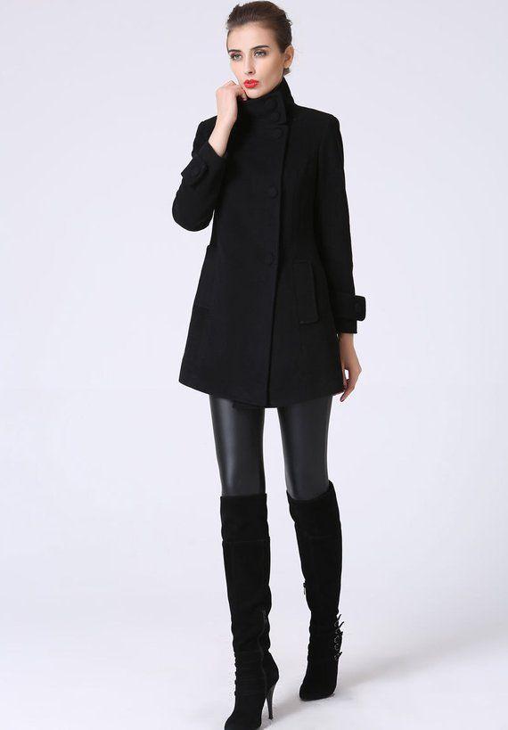 Wool jacket, Black coat, short jacket, wool coat, Black blazer .
