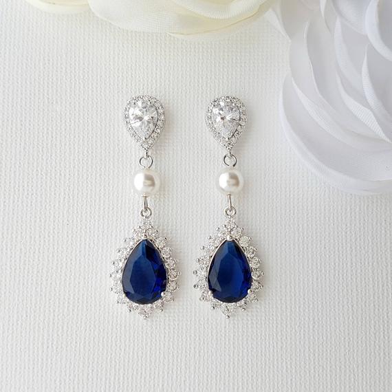 Bridal Earrings Something Blue for Bride Blue Wedding Earrings   Et