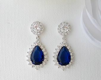 Rose Gold Earrings Wedding Earrings Blue Bridal Earrings   Et
