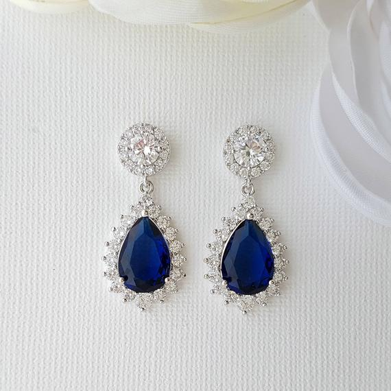 Blue Bridal Earrings Crystal Wedding Earrings Sapphire Blue   Et