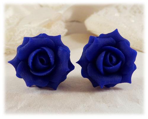 Cobalt Blue Rose Stud Earrings   Blue Rose Clip On Earrings .
