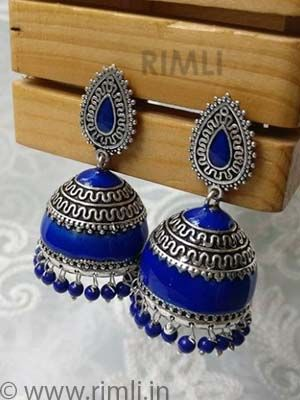 Oxidized blue jhumkas!!! . .Available at Rimli Boutique, T Nagar .