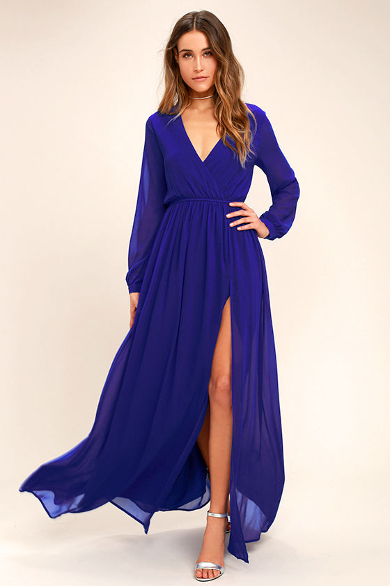 Wondrous Water Lilies Royal Blue Maxi Dress | Blue long sleeve .