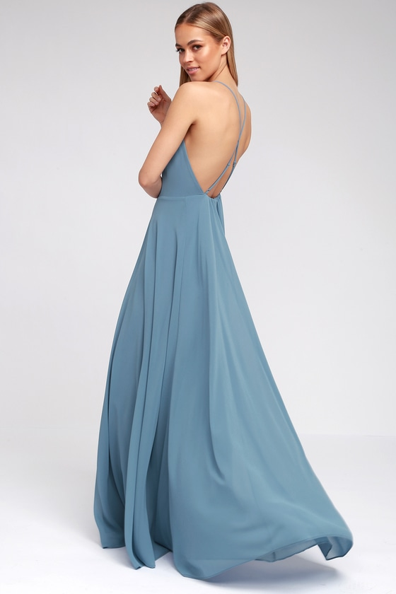 Beautiful Slate Blue Dress - Maxi Dress -Backless Maxi Dre