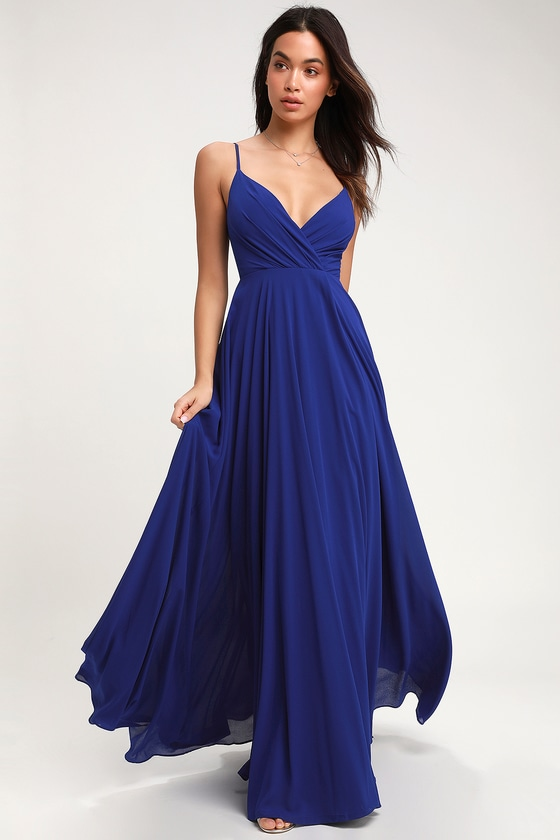 Lovely Royal Blue Maxi Dress - Surplice Bridesmaid Maxi Dre