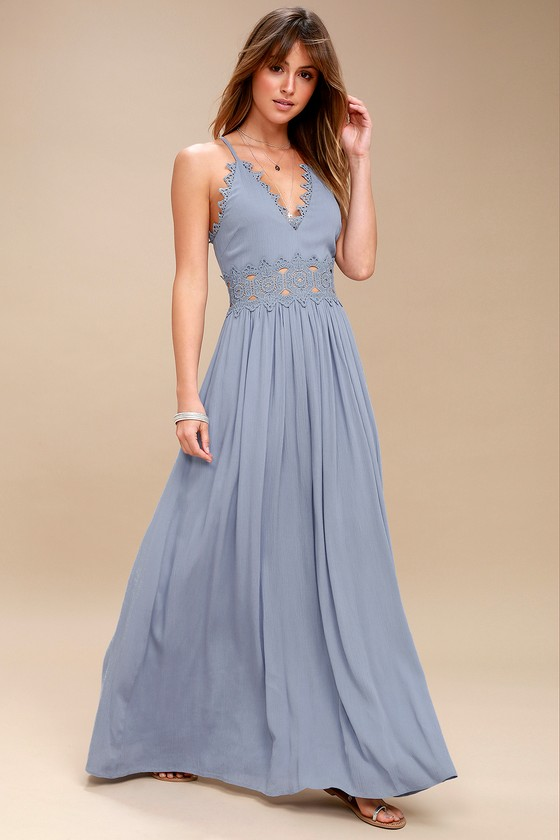 Slate Blue Maxi Dress - Lace Maxi Dress - Plunge Neck Ma