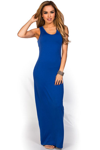 "Qadira"" Royal Blue Casual Racerback Jersey Maxi Dress - Babe Socie"