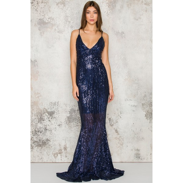 Royal Blue Sequin Fishtail Maxi Dre
