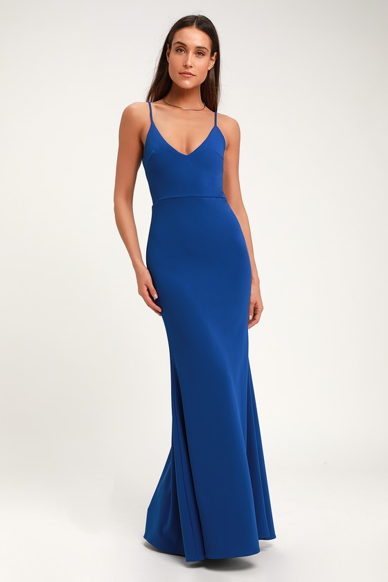 Sexy Royal Blue Maxi Dress - Mermaid Maxi Dress - Bodycon Ma