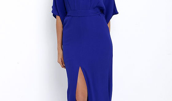 Royal Blue Maxi Dress - Short Sleeve Maxi Dress - Casual Maxi .