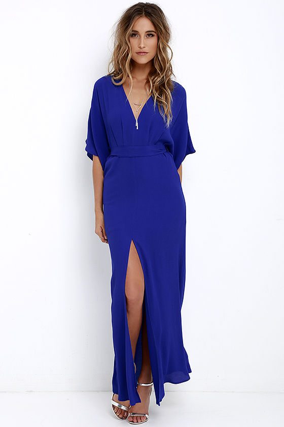 Blue Maxi Dress with Sleeves – Fashion dress