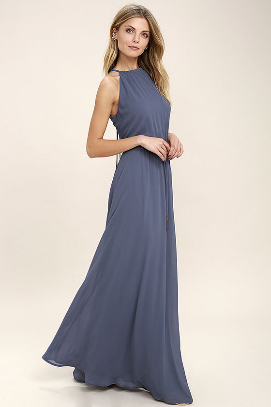 Lovely Denim Blue Dress - Maxi Dress - Sleeveless Dress - $86.