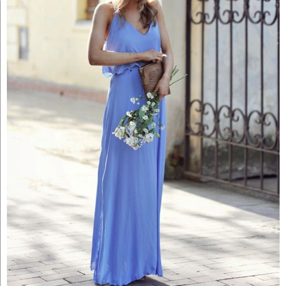 Zara Dresses | Cornflower Blue Maxi Dress Size M | Poshma