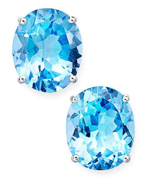 Macy's 14k White Gold Earrings, Oval-Cut Blue Topaz Stud Earrings .