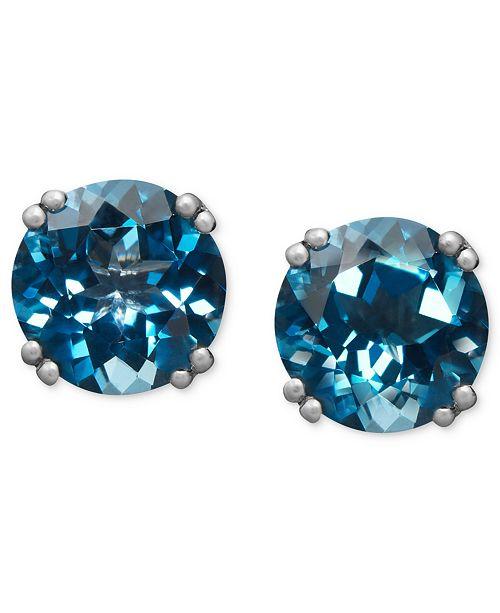 Macy's 14k White Gold Earrings, London Blue Topaz Stud Earrings (4 .