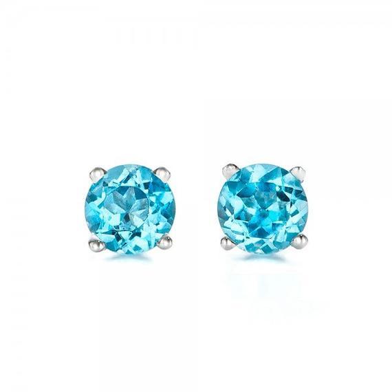 1 carat blue topaz earrings studs-Blue topaz-Natural blue   Et