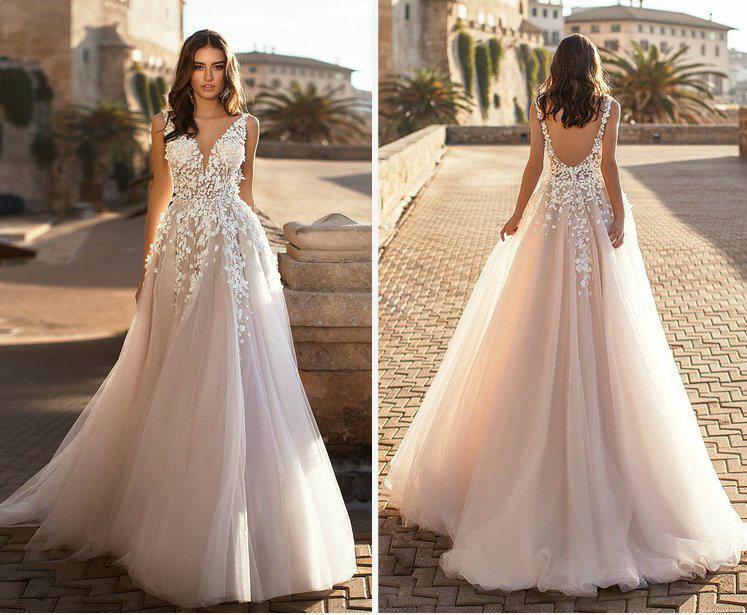 China Lace V-Neck Bridal Gown Champagne Blush Wedding Dresses .