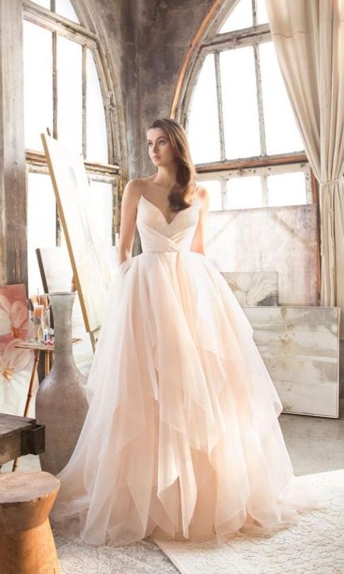 New Arrival Spaghetti Straps Blush Wedding Dress – daisystyledre