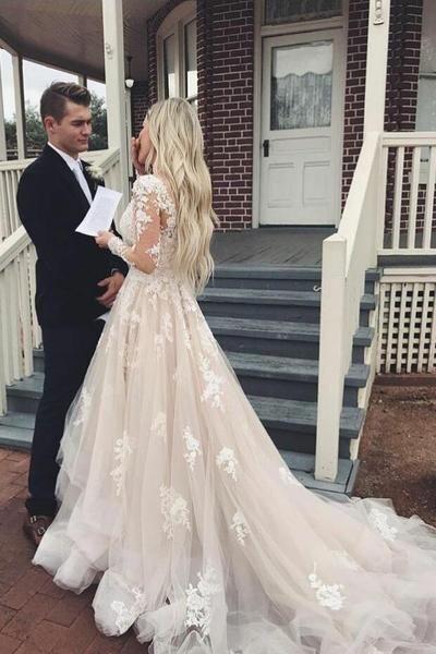 Long Sleeve Blush Lace Plus Size Wedding Dress – daisystyledre