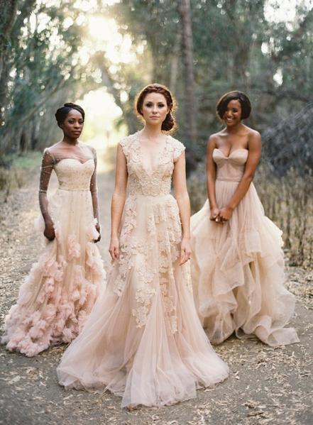 Vintage Lace V Neck Cap Sleeve Blush Wedding Gowns | Flosluna .