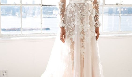 Picture Of a blush wedding dress with a plunging neckline .