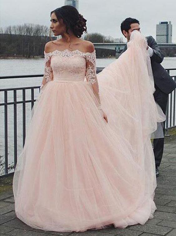 Blush Wedding Dresses,Off the Shoulder Wedding Dress,Wedding Dress .