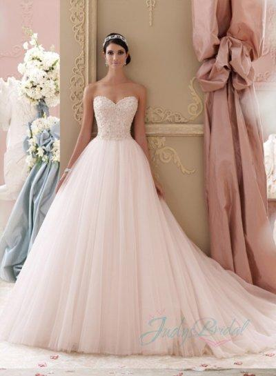 JOL229 2015 Blush Pink Colored Sweetheart Tulle Princess Ball Gown .