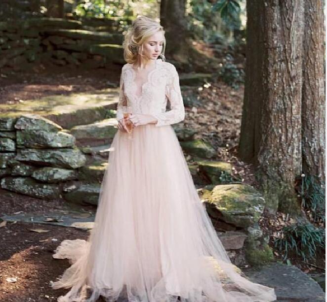 Modest Blush Wedding Dresses Bohemia Style Deep V-Neck A-Line .