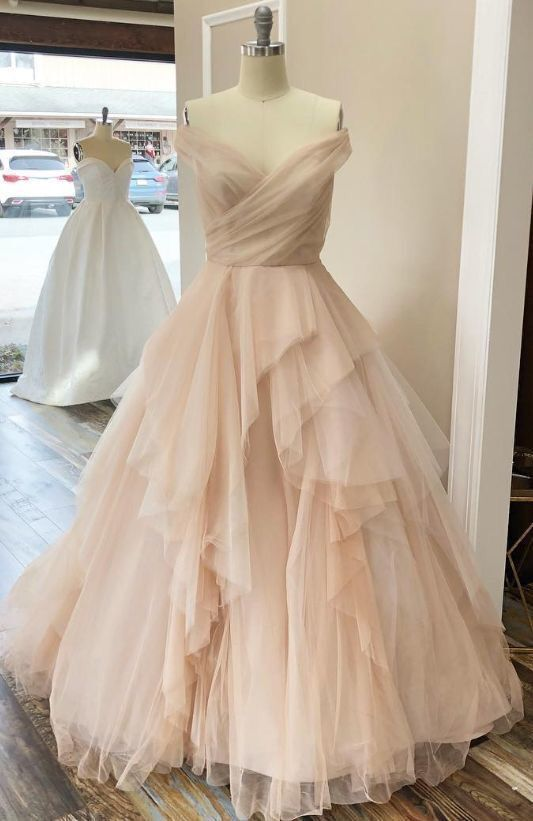 Ball Gown Blush Wedding Dress,Off Shoulder Sleeve Wedding Dress .
