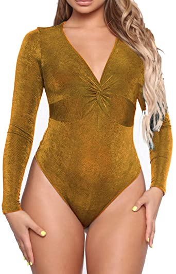 Bodysuits for Women Long Sleeve Sexy V Neck Knot Front Velvet .